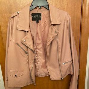 Blush Faux Leather Moto Jacket